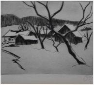 """Radierung - Otto Baumann (Regensburg 16.10.1901 - 1.7.1992) """"Winterlandschaft"""", r.u."""