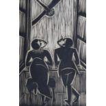 """Holzschnitt - Josef Achmann (1885 Regensburg - 1958 Schliersee) """"Am Fenster"""", unsigniert,"""