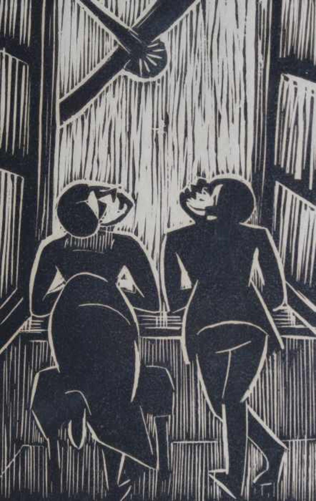 """Los 22 - Holzschnitt - Josef Achmann (1885 Regensburg - 1958 Schliersee) """"Am Fenster"""", unsigniert,"""