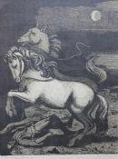 """Linolschnitt - Karl Rössing (Gmunden - 1987 Wels) """"Die barmherzigen Pferde"""", r.u. Bleistiftsignatur,"""