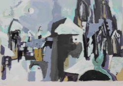 "Farbserigraphie - Willi Ulfig ( 26.11.1910 Breslau - 4.2.1983 Regensburg) ""Regensburg im Winter"","