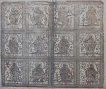 """Modeldruck in Gold - 18./19.Jahrhundert """"12 verschiedene Heiligendarstellungen"""", Altersspuren,"""