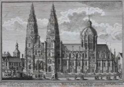 """Kupferstich aus dem 18.Jahrhundert """"Dom zu Regensburg mit Kuppel"""", anbei Beschriftung, Altersspuren,"""