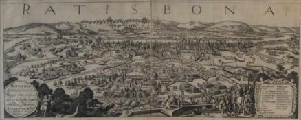 """Kupferstich - Johann Alexander Böner (1647 Nürnberg 1720) """"Ratisbona - Stadtansicht von Süden mit"""