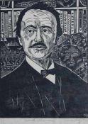 """Holzschnitt - Ulrich Bewersdorff ( 1920 Bornzin - 2008 Halle) """"Heinrich Schliemann"""", mit Bleistift"""