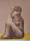 """Farblithographie - Horst Antes (1936 Heppenheim) """"Sitzende Figur mit Schleier"""", r.u."""
