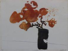 """Farblithographie - Oskar Koller (16.10.1925 Erlangen - 17.5.2004 Fürth) """"Herbstblumen"""", r.u."""