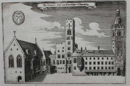 """Kupferstich - Matthäus Merian (1593 Basel - 1650 Langenschwalbach) """"Das Rathaus mit Marktturm zu"""