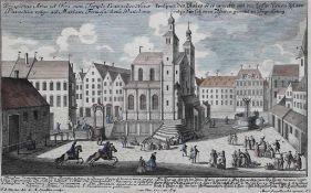 "Radierung - Johann Matthias Steidlin (1717 - 1754) ""Prospekt Regensburg / Neupfarrplatz"", Verleger"