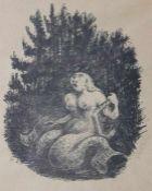 """Lithographie - Alfred Kubin (1877 Leitmeritz/Böhmen - 1959 Wernstein am Inn) """"Donauweibchen"""", r.u."""
