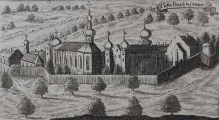 "Lot Stiche 1. ""Schloß Weng (bei Wörth an der Isar)"", Michael Wening 1723, Plattenmaße ca. 25,5x34,"