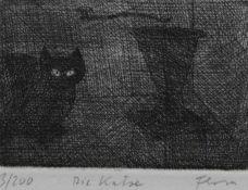 "Radierung - Paul Flora (1922 Glurns - 2009 Innsbruck) ""Die Katze"", r.u. Bleistiftsignatur, Nr. 3/"