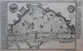"""Kupferstich - Gabriel Bodenehr (17./18.Jahrhundert) """"Regensburg aus der Vogelperspektive, nebst"""
