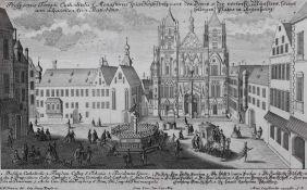 "Radierung - Johann Georg Ringlin (c.1691-c.1761) ""Prospekt Regensburg / Domplatz"", Verleger Martin"
