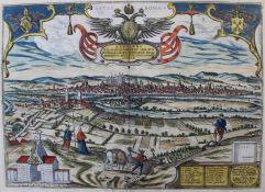 """Kupferstich - Jacob Houfnagel (1573 - Antwerpen - c.1630) """"Ratisbona - Nordansicht der Stadt, im"""