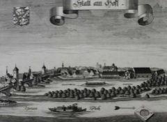 """Kupferstich - Michael Wening (1645 Nürnberg - 1718 München) """"Stadtamhof - Ansicht vom Süden mit"""