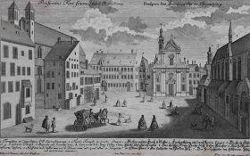 "Radierung - Johann Georg Ringlin (c.1691-c.1761) ""Prospekt Regensburg / Kornmarkt"", Verleger"