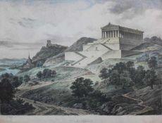 """Paar Grafiken aus dem 19.Jahrhundert 1.Lithographie, """"Walhalla"""", Altersspuren, Plattenmaße ca. 25,"""