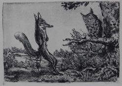 "Lithographie - A.Paul Weber (1893 Arnstadt - 1980 Schretstaken bei Mölln / Schleswig Holstein) ""Eule"