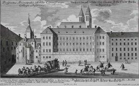 """Radierung - Johann Matthias Steidlin (1717 - 1754) """"Prospekt Regensburg / Stift Niedermünster"""","""
