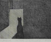 """Radierung - Paul Flora (1922 Glurns - 2009 Innsbruck) """"Die Katze und das Mausloch"""", r.u."""