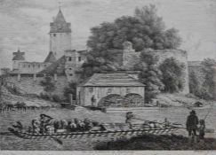 """Radierung - Johann Christoph Erhard (1795 Nürnberg - 1822 Rom) """"An der Stadtmauer zu Regensburg"""","""