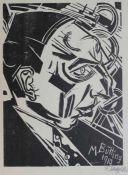 """Holzschnitt - Fritz Schaefler (1888 Eschau - 1954 Köln) """"Bildnis M. Butting 1919"""", r.u."""