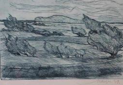 """Farbradierung - Emil Maetzel (1877 Cuxhaven - 1955 Hamburg) """"Landschaft mit Bäumen"""",r.u."""
