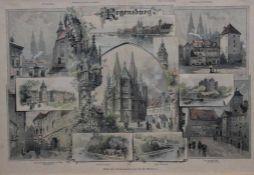 """Farbholzstich nach Richard Püttner (1842 Wurzen - 1913 München) """"Regensburger Ansichten"""", Maße ca."""