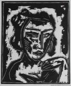 """Paar Holzschnitte - Bernhard Klein (1888-1968) """"Mädchenkopf und Vor dem Haus"""", einer r.u."""