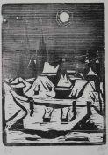 "Holzschnitt - Otto Baumann (Regensburg 16.10.1901 - 1.7.1992) ""Regensburg im Winter"", r.u."