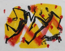 "Farblithographie - Helge Leiberg (1954 Dresden) ""Figurengruppe mit Pferd"", r.u. Bleistiftsignatur,"
