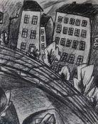 """Lithographie - Willy Zierath (1890 Berlin - ca. 1938 Moskau) """"Stadtbahn"""", Plattenmonogramm WZ und"""