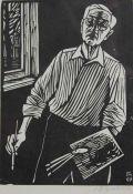 """Holzschnitt - Conrad Felixmüller (1897 Dresden - 1977 Berlin) """"Selbstbildnis"""", r.u."""