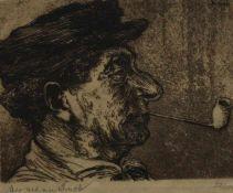 """Radierung - Hermann Struck (1876 Berlin - 1944 Haifa) """"Mann mit Pfeife"""", l.u Bleistiftsignatur,"""