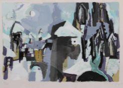 "Farbserigraphie - Willi Ulfig (26.11.1910 Breslau - 4.2.1983 Regensburg) ""Regensburg im Winter"", r."