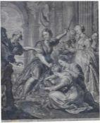 """Kupferstich - Cornelis Visscher (Haarlem 1619/1629 - 1658/52) """"Achilles at the Court of"""