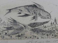"""Radierung - Anton Lehmden (1929 Nitra) """"Fliegender Fisch"""", r.u. Bleistiftsignatur und datiert 65,"""