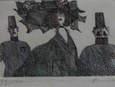 """Radierung - Paul Flora (1922 Glurns - 2009 Innsbruck) """"Damenbildnis mit Gendamerie"""", r.u."""