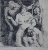 """Radierung - Felix Meseck (1883 Danzig - 1955 Höxter) """"Simson und Delila"""", r.u. Bleistiftsignatur,"""