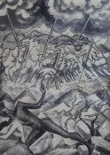 """Lithographie - Werner Heuser (1880 Gummersbach - 1964 Düsseldorf) """"Vertreibung"""", Altersspuren,"""