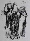 """Serigraphie - Willi Ulfig (26.11.1910 Breslau - 4.2.1983 Regensburg) """"Wasserträgerin"""", r.u."""