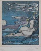 "Farbradierung - Ernst Fuchs (Wien 1930 - 2015) ""Bachnymphe"", r.u. Bleistiftsignatur, Nr. 87/135,"