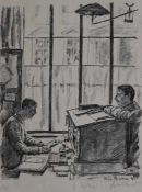 "Lithographie - Erich Büttner (1889 Berlin - 1936 Freiburg) ""Im Büro"", r.u. Bleistiftsignatur, Nr."