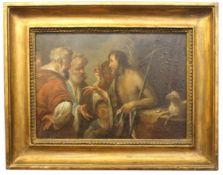 "Gemälde - Bernardo Strozzi Nachfolger (1581 Genua - 1644 Venedig) ""Die Predigt Johannes des"