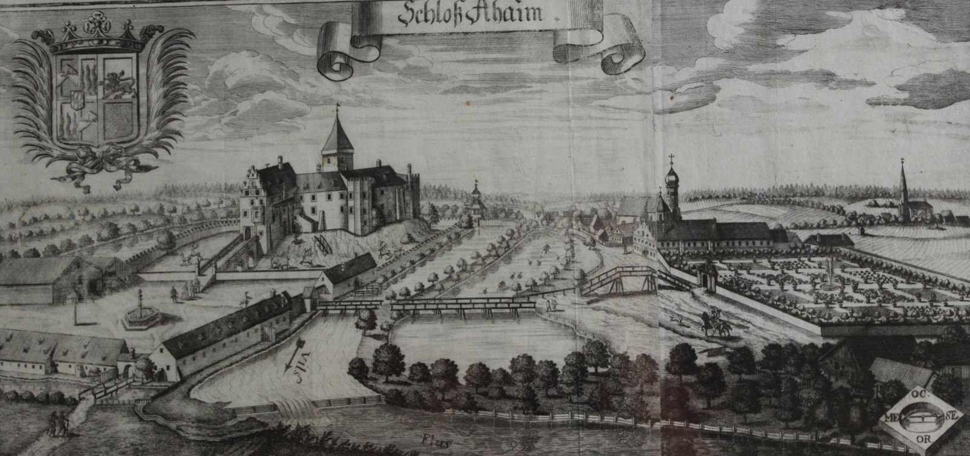 """Großer Kupferstich - Michael Wening (1645 Nürnberg - 1718 München) """"Schloß Aham bei Landshut"""", 18."""