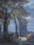 """Gemälde - wohl norddeutsch 19.Jahrhundert """"Allee mit Kühen"""", anonymer Künstler, Öl auf Holz, ca."""