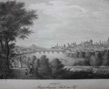 """Lithographie von Adolph Kunike (1777-1838 Wien) """"Stadt Regensburg und Stadt am Hof"""", nach einer"""