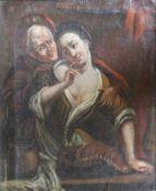 """Gemälde - wohl deutsch 18./19.Jahrhundert """"Ein ungleiches Paar"""", anonymer Künstler, Öl auf Leinwand,"""