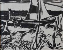 """Zeichnung - Wilhelm Lachnit (1899 Gittersee - 1962 Dresden) """"Fischerboote"""", r.u. signiert, Tusche"""